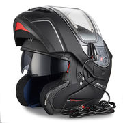 MT Atom flip-up helmet, matt black, with electric heated visor